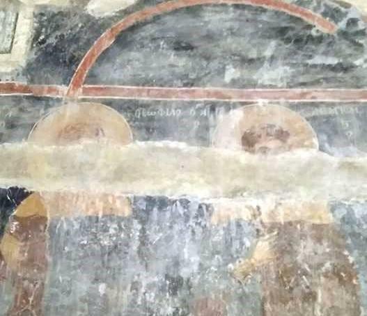Λεπτομέρεια από τοιχογραφία του κυρίως ναού της Αγίας Σοφίας όπου η λέξη ΘΕΩΦΙΛΟΣ είναι γραμμένη με Ω αντί με Ο