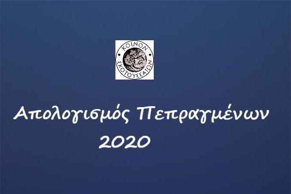 Έκθεση πεπραγμένων για το 2020, έτος κορωνοϊού